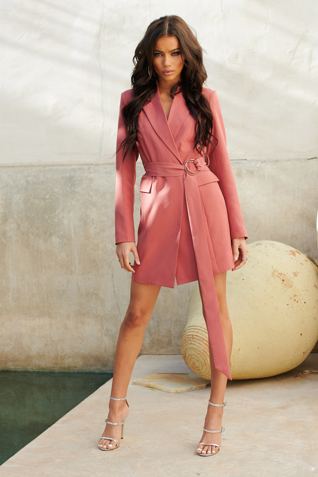 Dusky Pink Wrap Buckle Blazer Mini Dress - Club L London