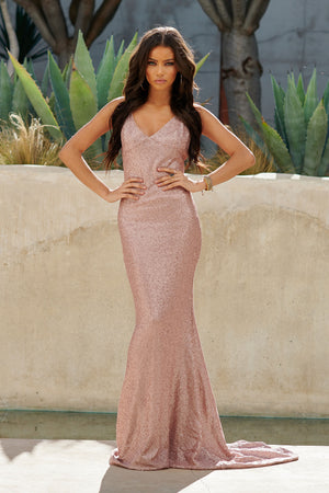 Nude Sequin Cross Back Fishtail Maxi Dress