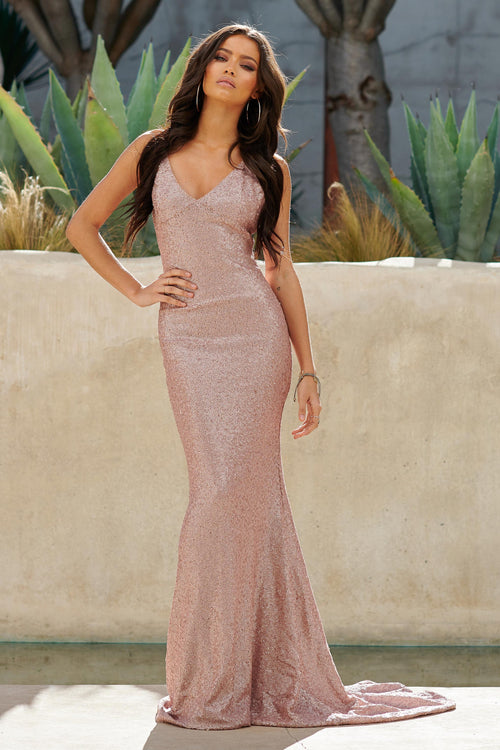 228b3a99c2e Nude Sequin Cross Back Fishtail Maxi Dress