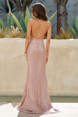 Nude Sequin Cross Back Fishtail Maxi Dress - Club L London