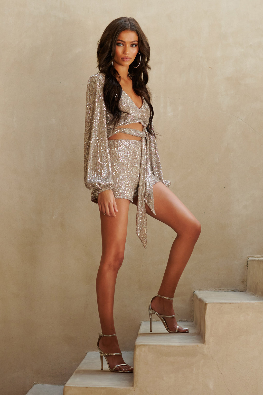 Silver Sequin Tailored Shorts