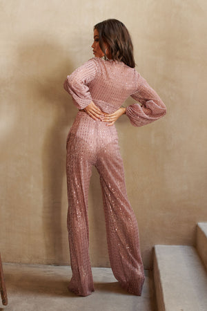 Nude Sequin Wide Leg Trousers - Club L London