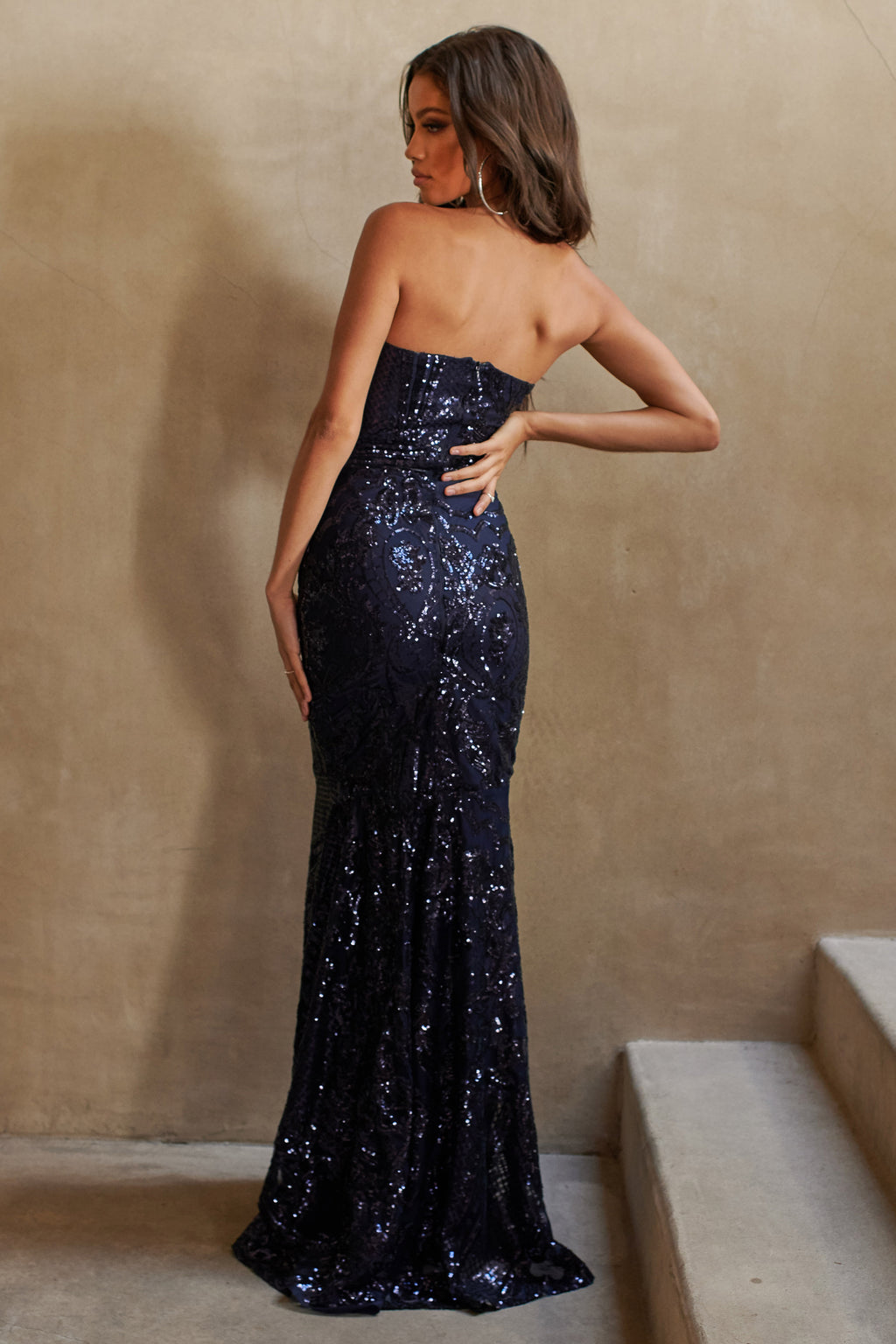 Navy Sequin Baroque Bandeau Fishtail Maxi Dress
