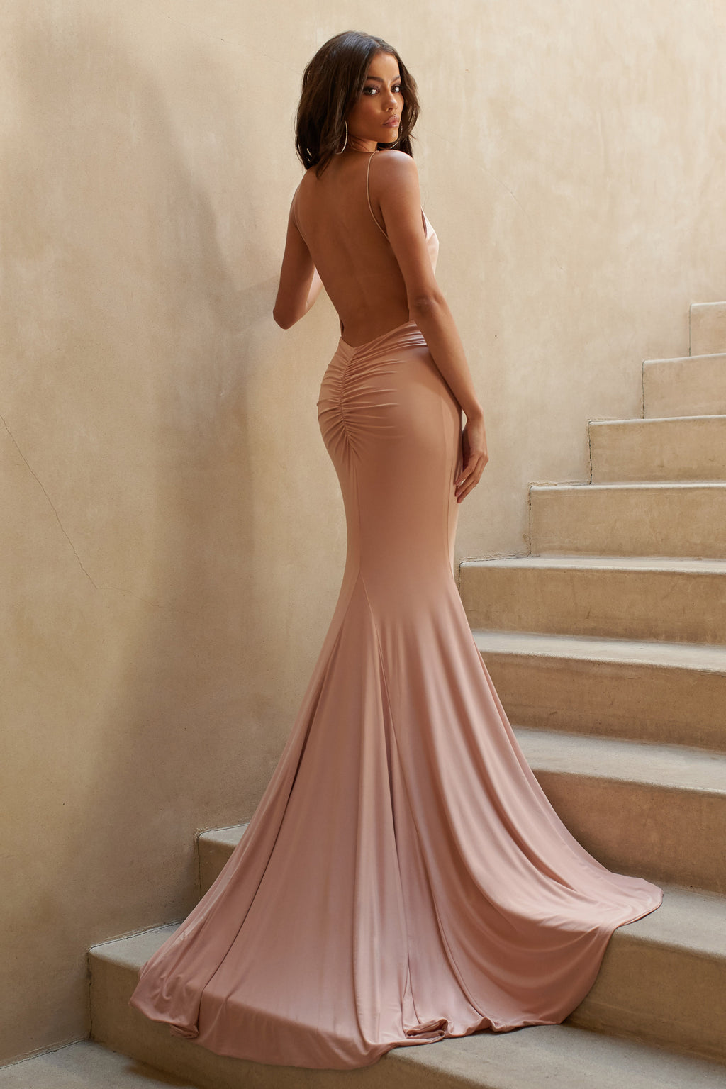 Nude Backless Bum Ruched Fishtail Maxi Dress