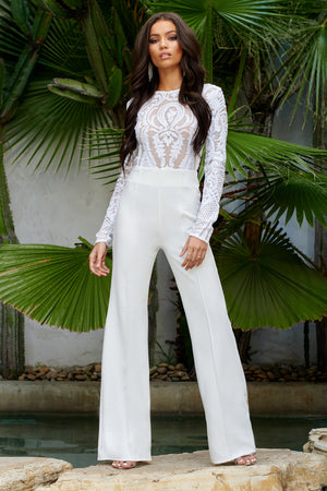 White Baroque Sequin Jumpsuit
