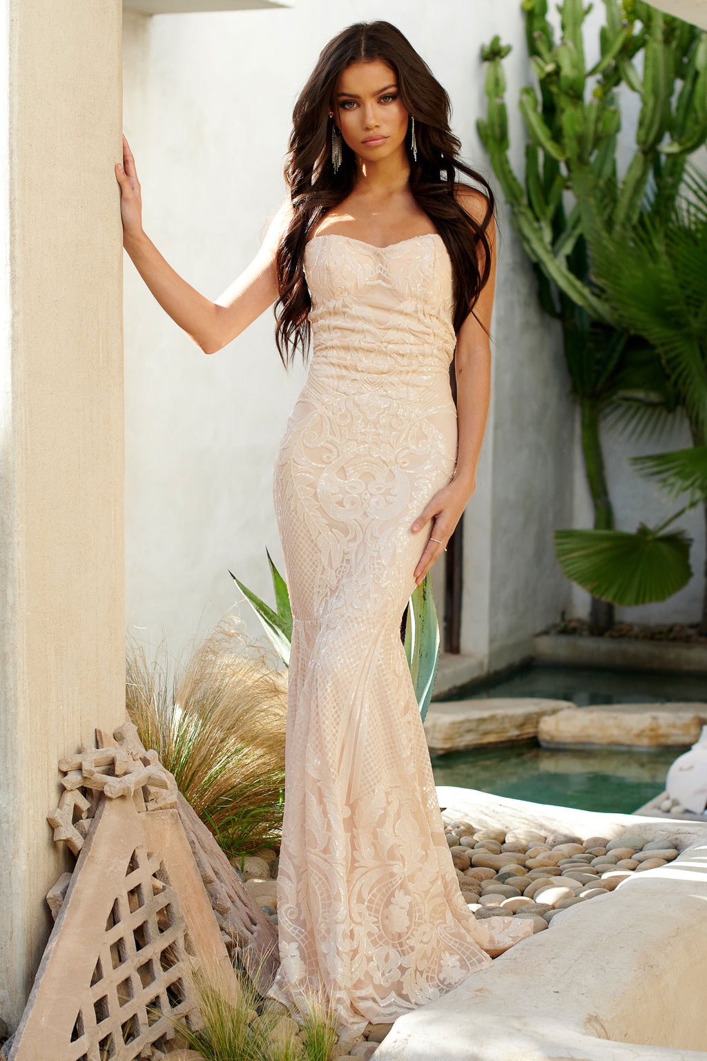 Ivory Sequin Baroque Bandeau Fishtail Maxi Dress - Club L London