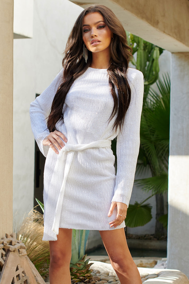 White Sequin Belted Mini Dress - Club L London