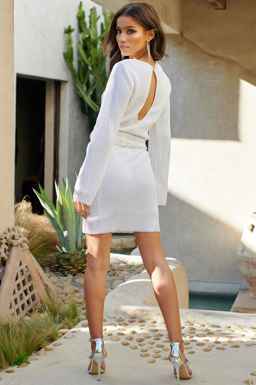 White Sequin Belted Mini Dress