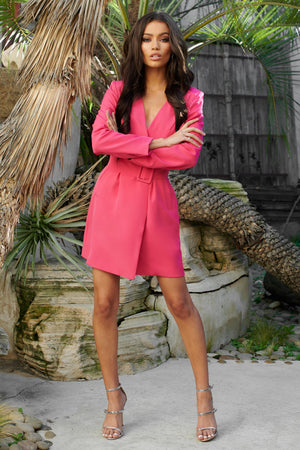 Pink Plunge Neck Belted Blazer Dress - Club L London