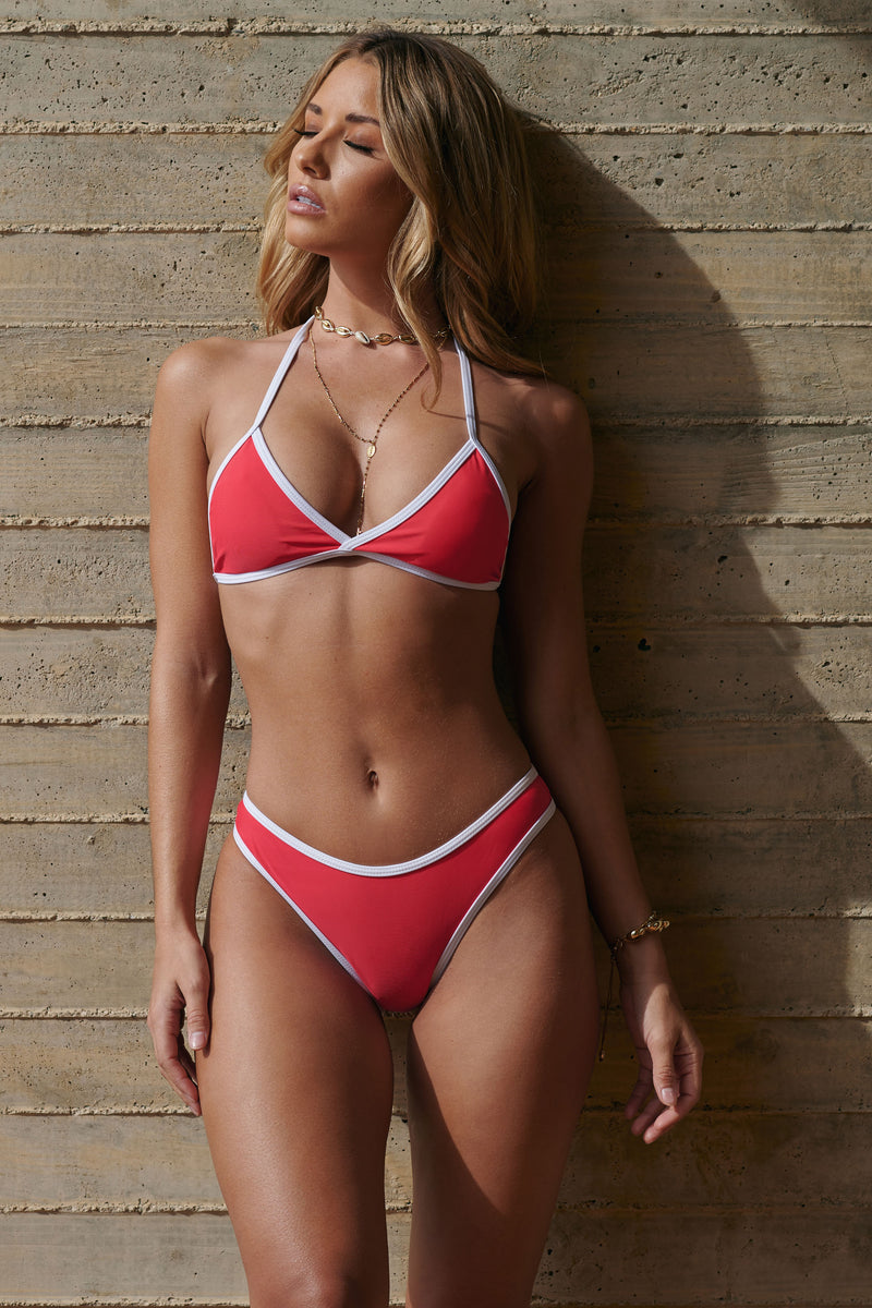 Pink and White Contrast Trim Bikini - Club L London