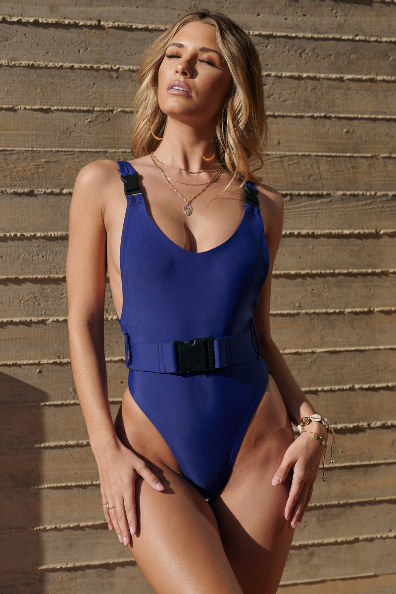 Blue Belted Swimsuit - Club L London