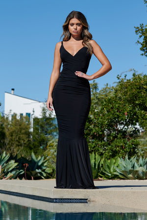 Black Sleeveless Ruched Fishtail Maxi Dress - Club L London