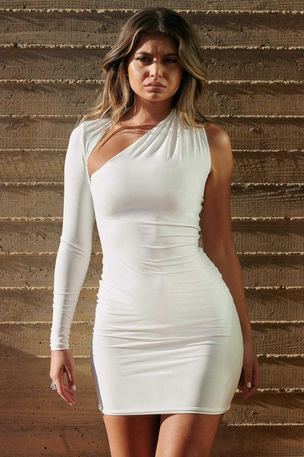 White One Shoulder Bodycon Mini Dress