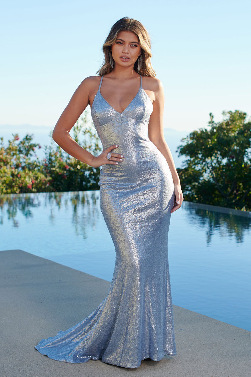 Silver Sequin Cross Back Fishtail Maxi Dress