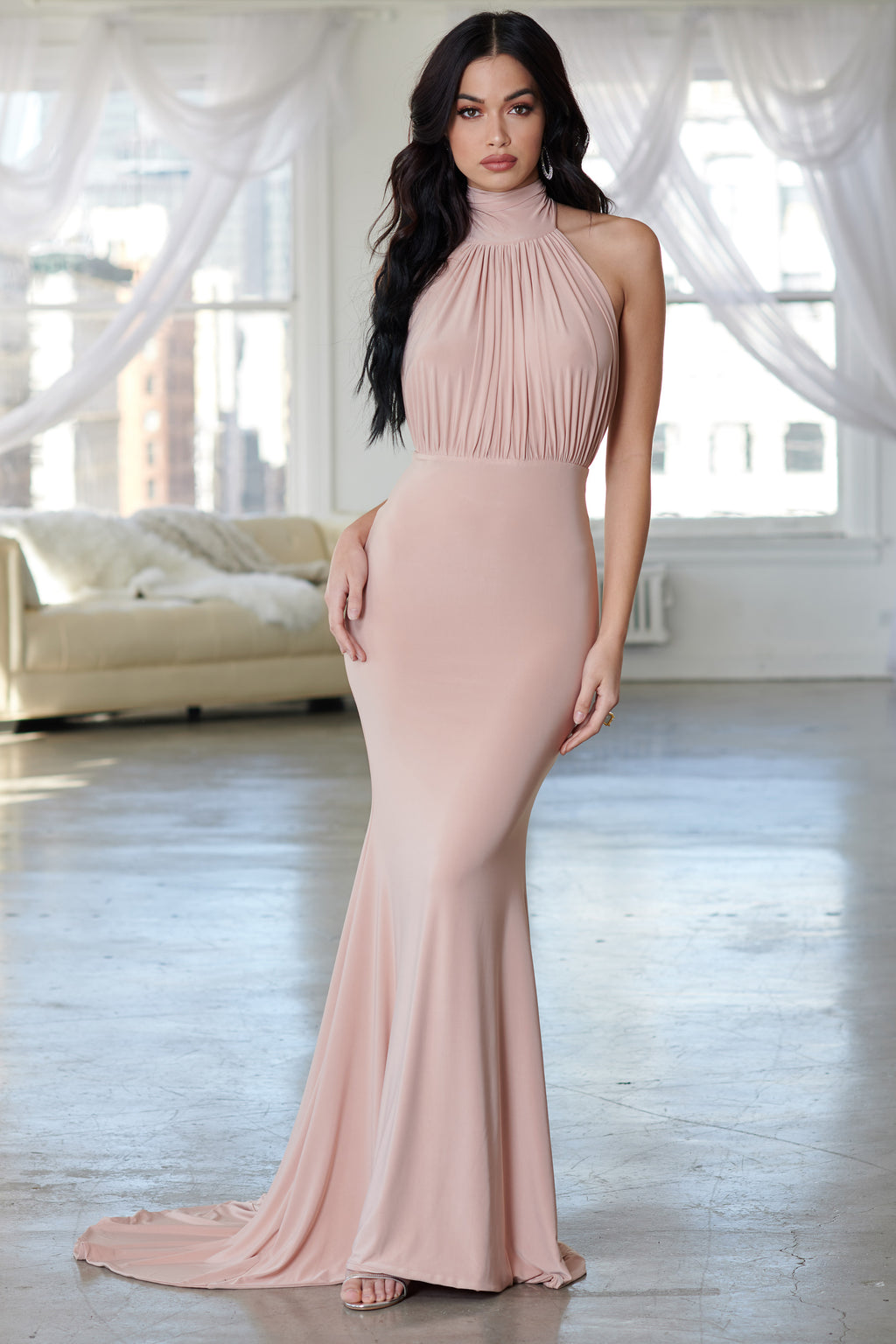 Nude Backless Halterneck Fishtail Maxi Dress