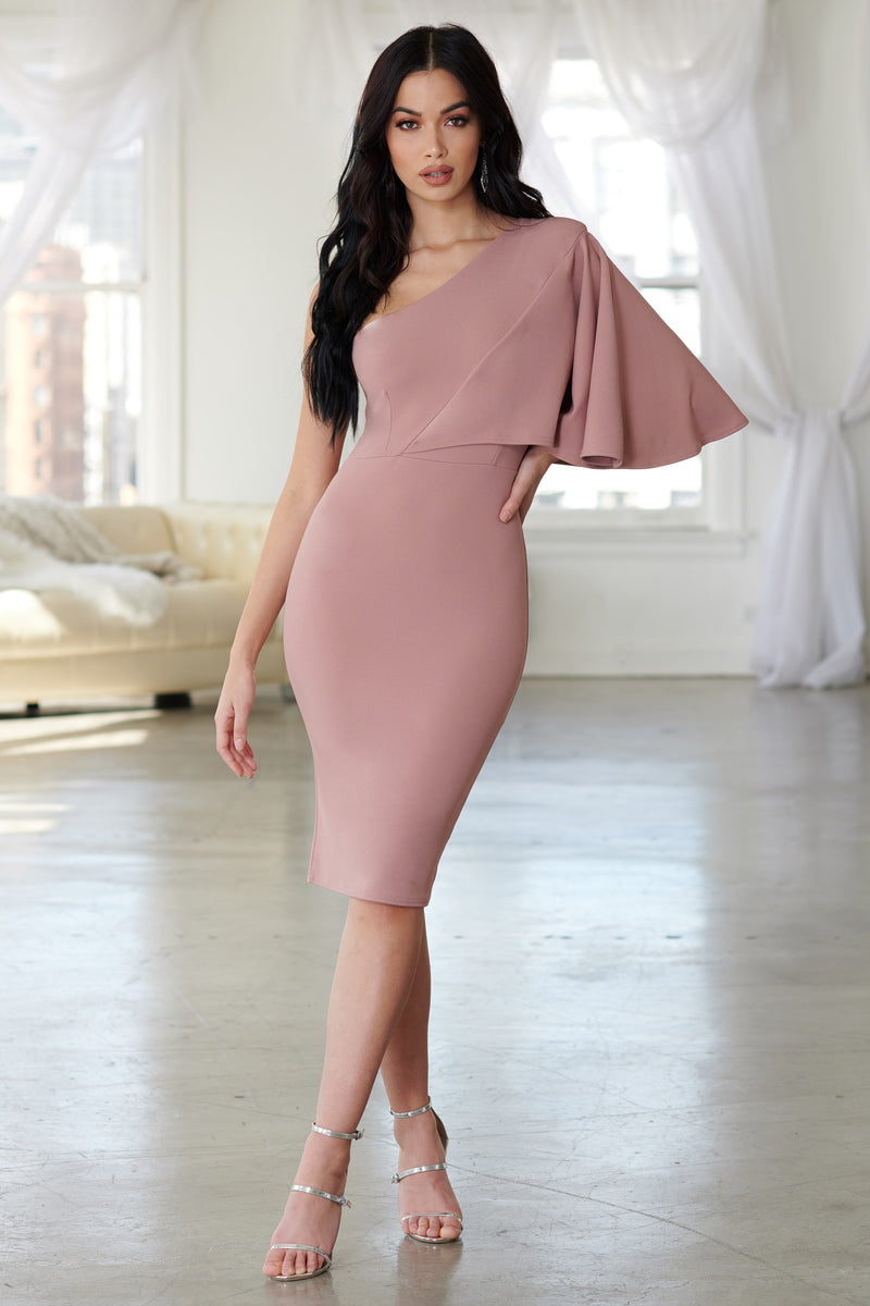 Dusky Pink One Shoulder Fluted Sleeve Midi Dress - Club L London
