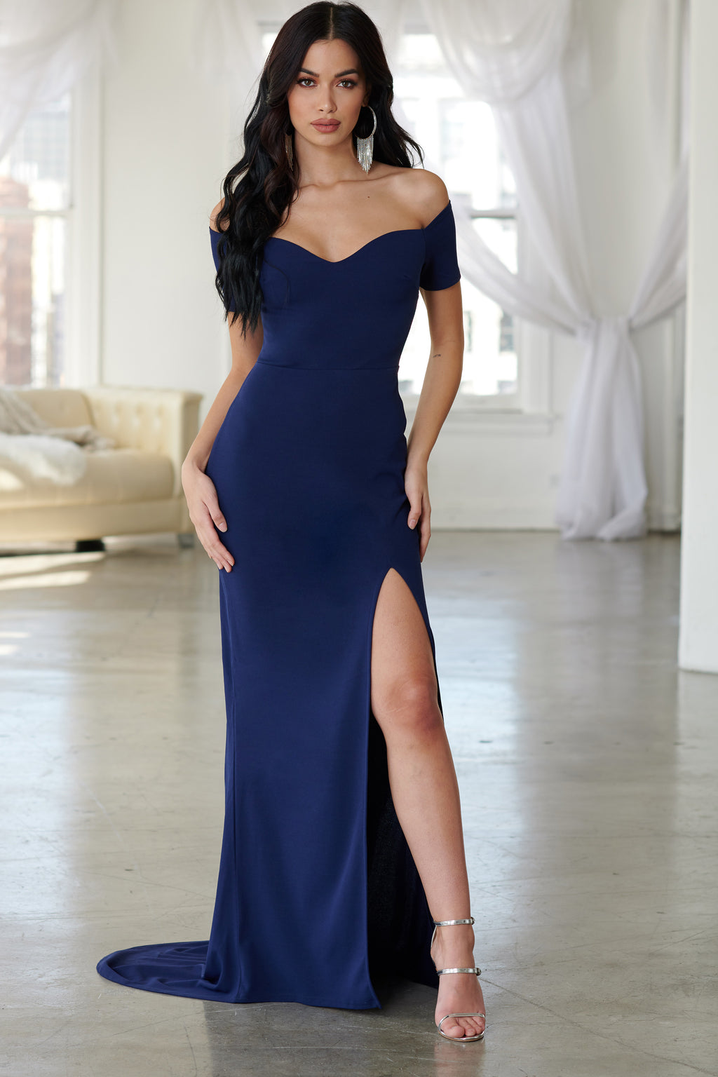 Navy Bardot Thigh Split Maxi Dress - Club L London