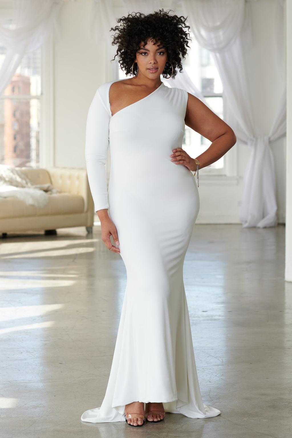 Curve White One Shoulder Fishtail Maxi Dress - Club L London