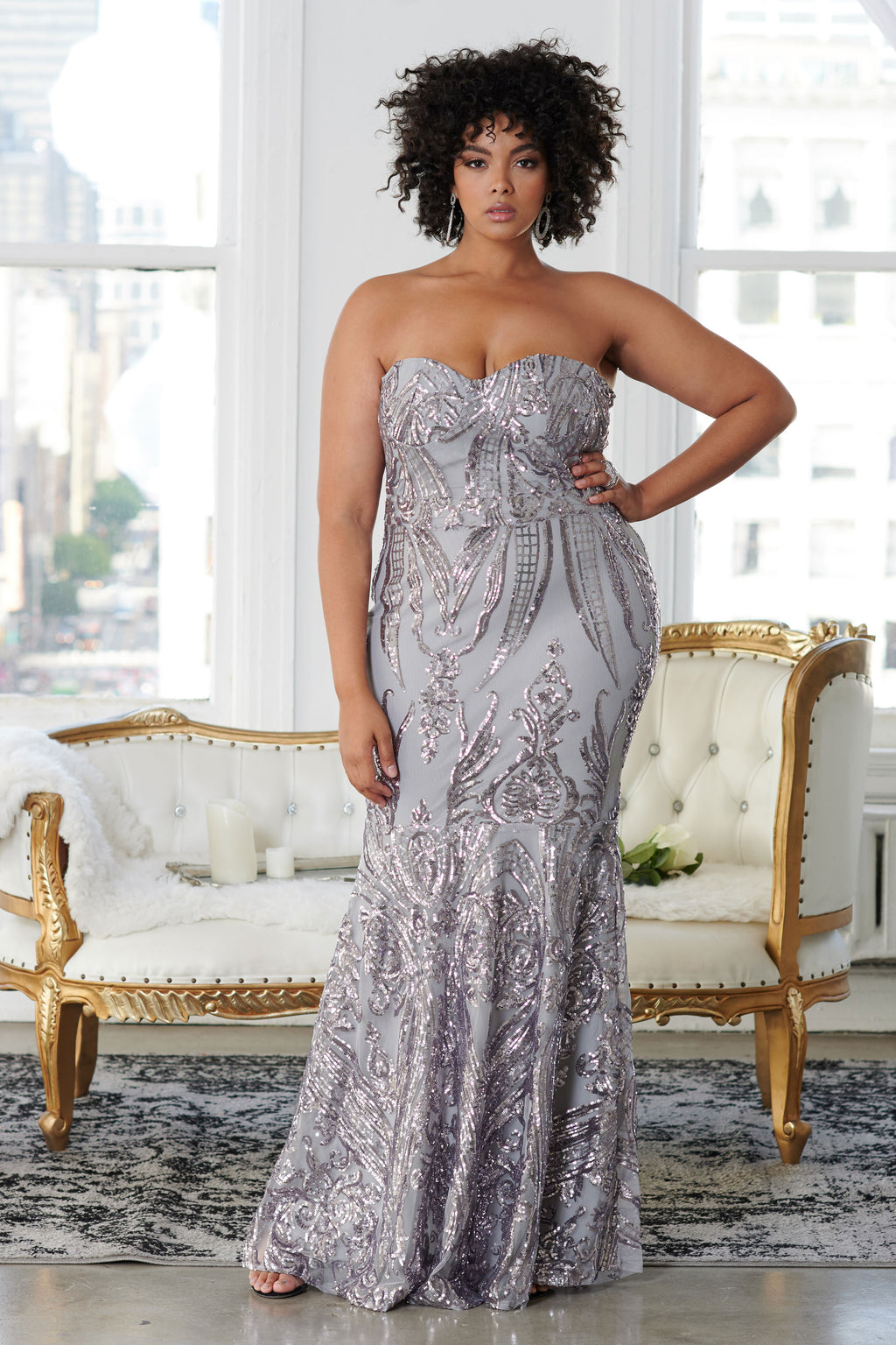 Curve Silver Sequin Baroque Bandeau Fishtail Maxi Dress - Club L London