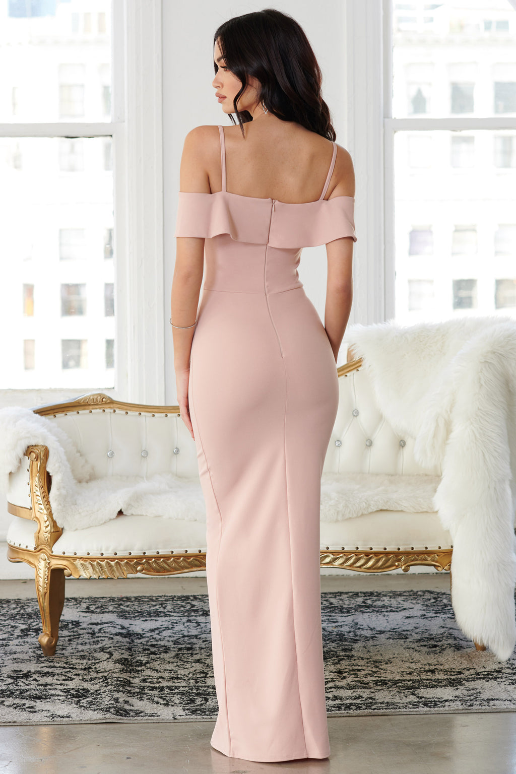 Pink Bardot Drape Sleeve Maxi Dress