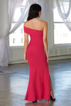 Fuchsia Pink One Shoulder Thigh Split Maxi Dress - Club L London