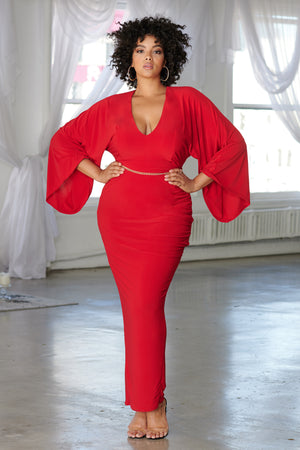 Curve Red Plunge Flared Sleeve Thigh Split Maxi Dress - Club L London