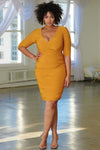 Curve  Mustard Ruched Wrap Long Sleeved Midi Dress - Club L London