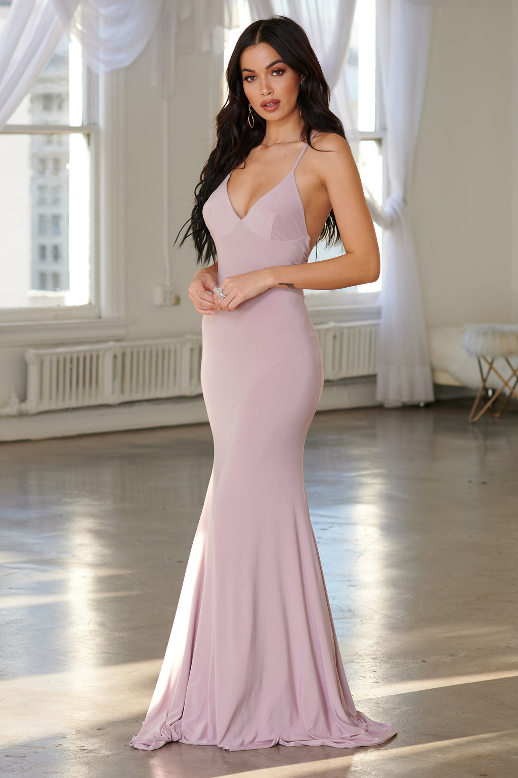 Mauve Cross Back Fishtail Maxi Dress - Club L London