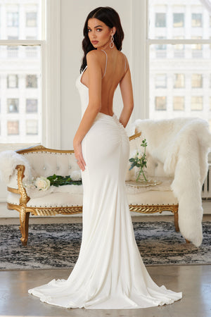 White Backless Bum Ruched Fishtail Maxi Dress