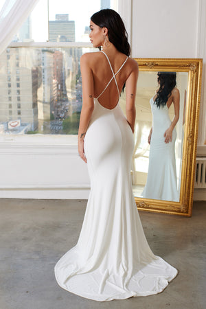 White Cross Back Fishtail Maxi Dress - Club L London