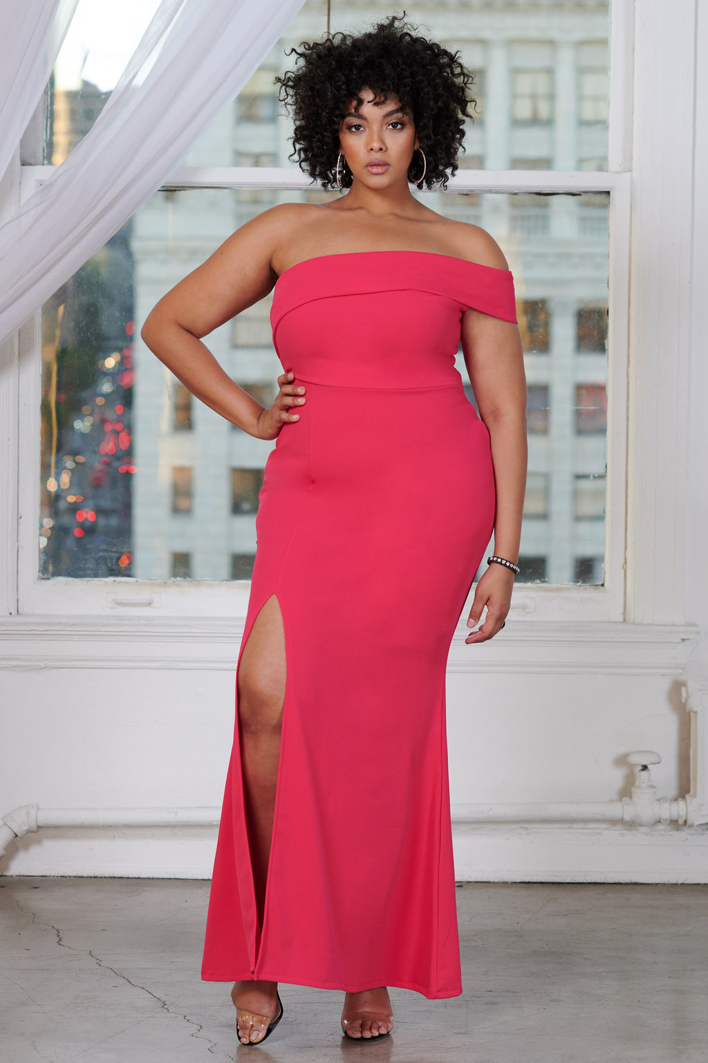 Curve Fuchsia One Shoulder Maxi Dress - Club L London