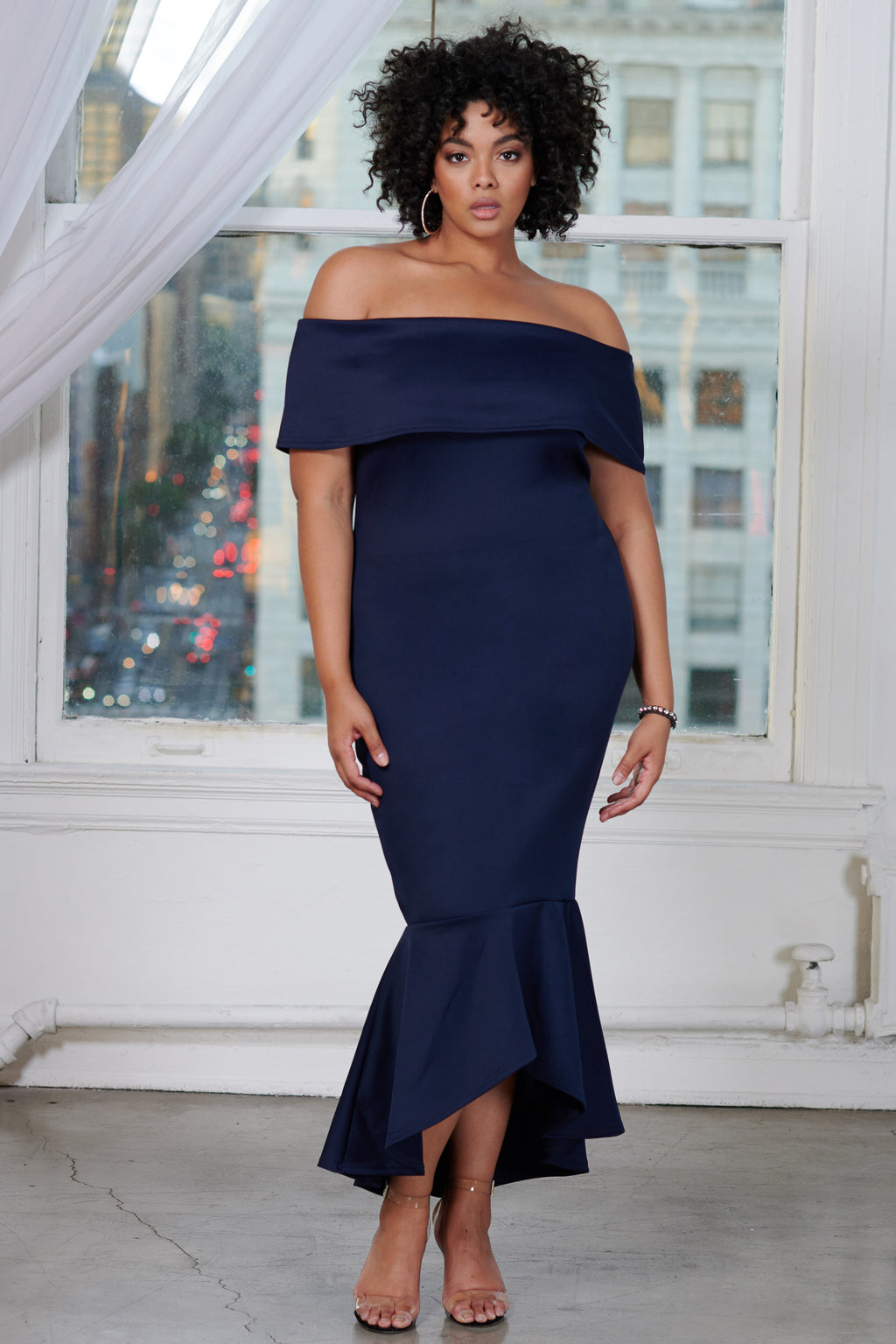 Curve Navy Bardot Fishtail High Low Maxi Dress - Club L London