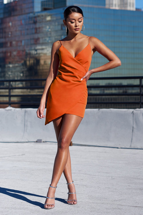 594ccf56f550 Orange Wrap Asymmetric Cami Mini Dress