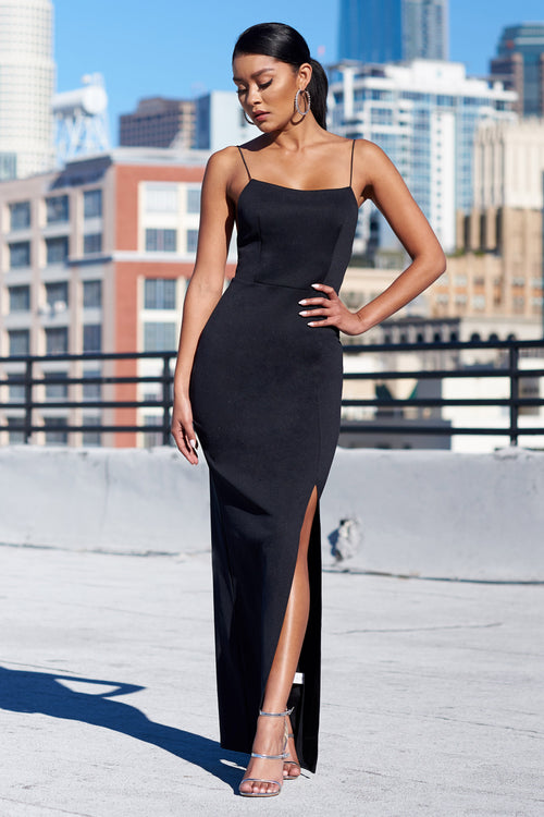 68bbd52a Black Square Neck Thigh Split Tailored Maxi Dress