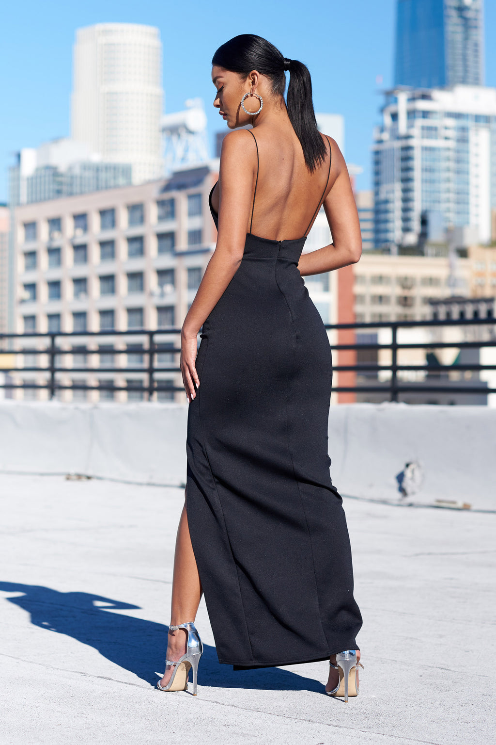 Black Square Neck Thigh Split Tailored Maxi Dress - Club L London