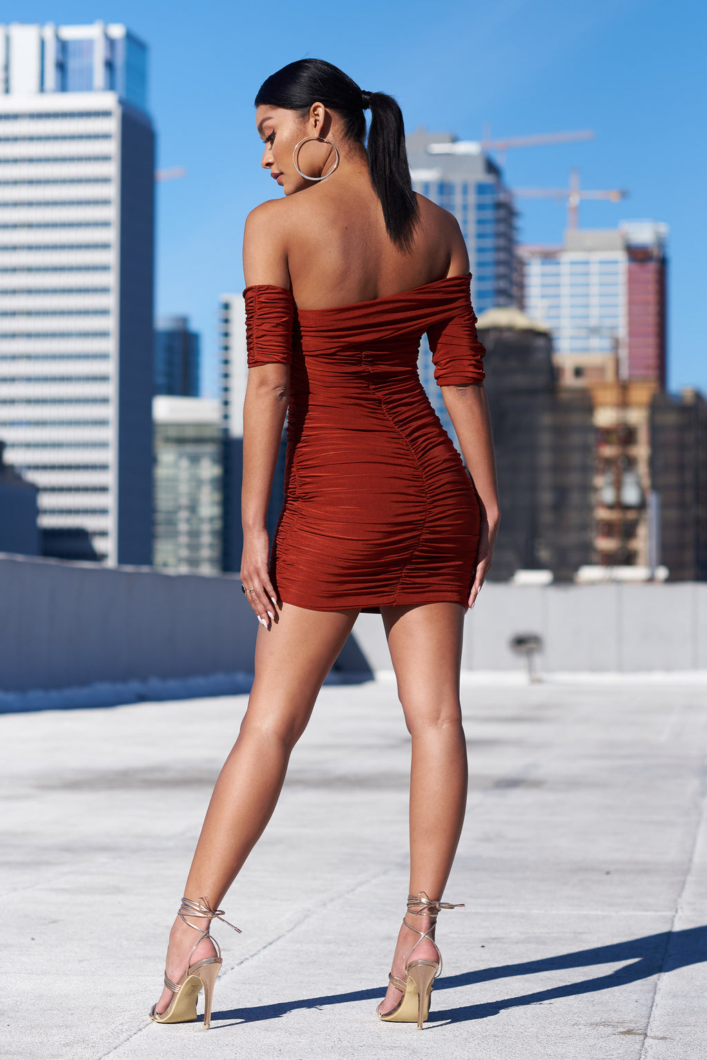 Rust Drape Shoulder Mini Dress