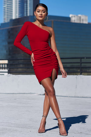 Red One Shoulder Ruched Side Mini Dress - Club L London
