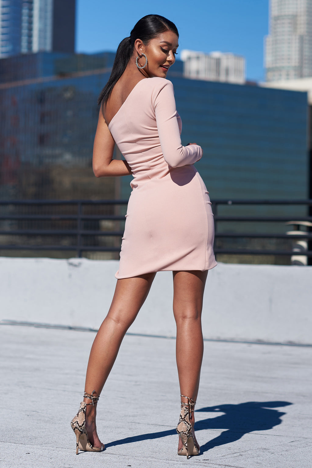 Peach One Shoulder Ruched Side Mini Dress