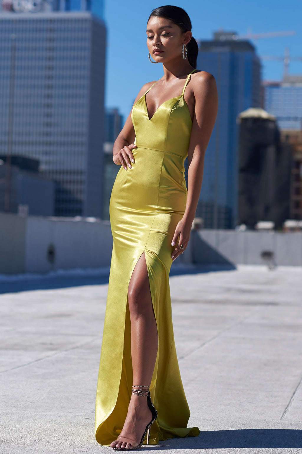 Chartreuse Satin Thigh Split Maxi Dress - Club L London