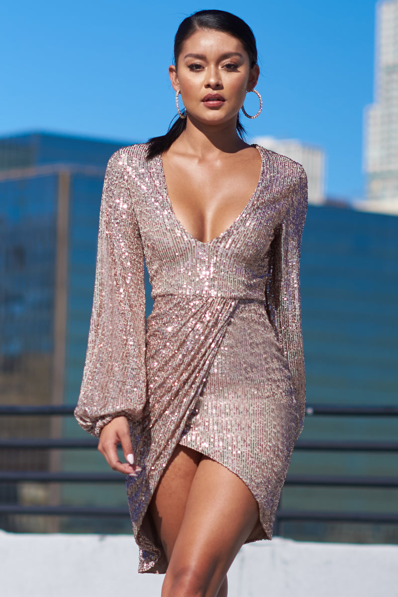 Rose Sequin Gathered Sleeve Wrap Mini Dress - Club L London