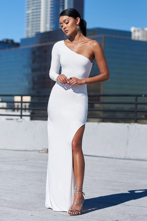 White One Shoulder Split Maxi Dress - Club L London