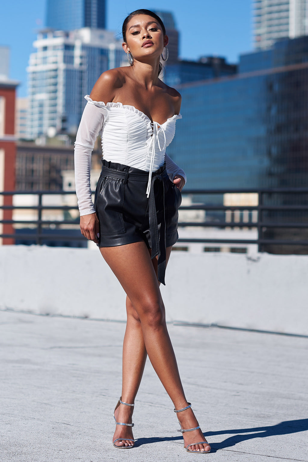 Black PU High Waisted Shorts