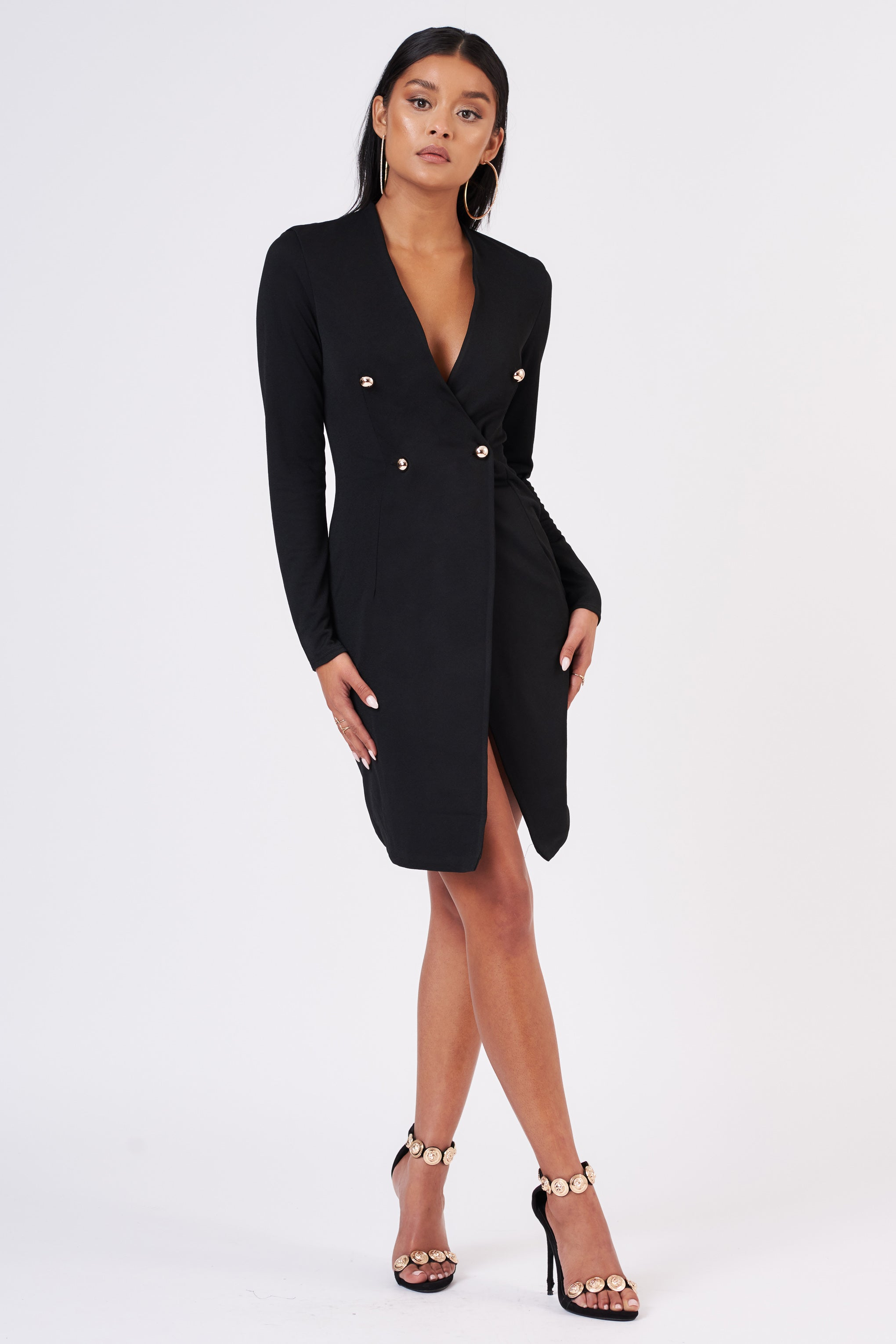 Black Double Breasted Blazer Midi Dress Club L London