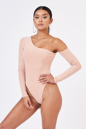 Nude Pink Cut Shoulder Bodysuit