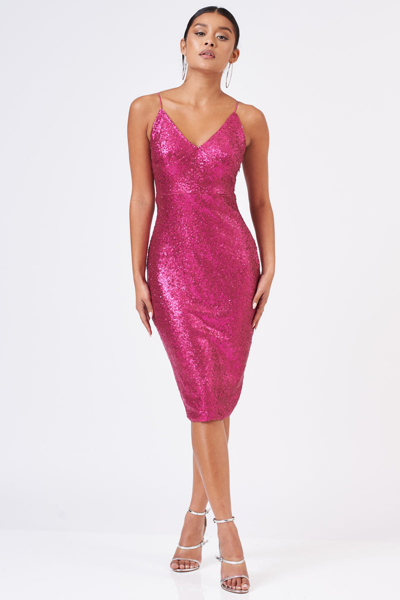 Fuchsia Sequin Midi Cami Dress - Club L London