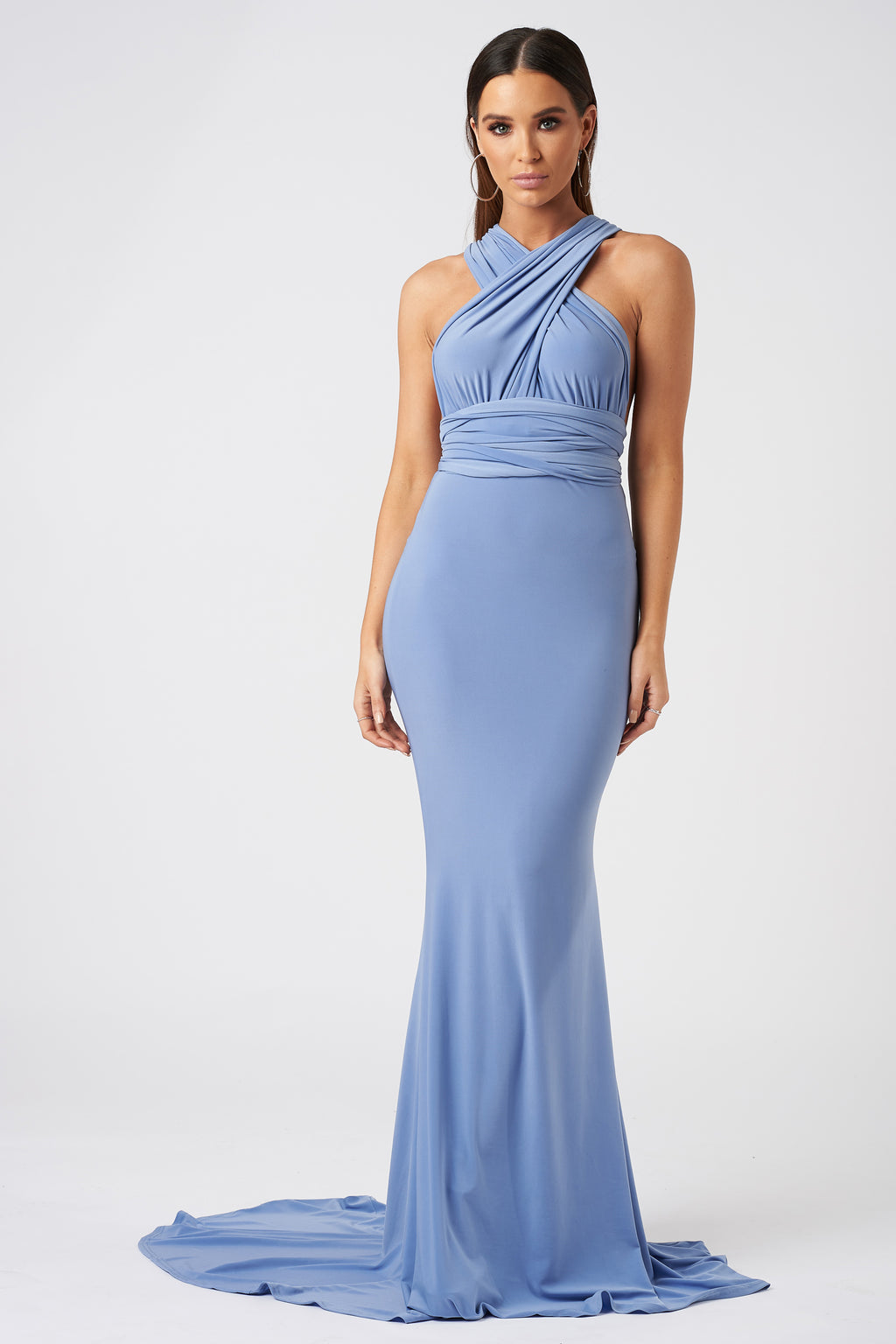 Powder Blue Multiway Fishtail Maxi Dress