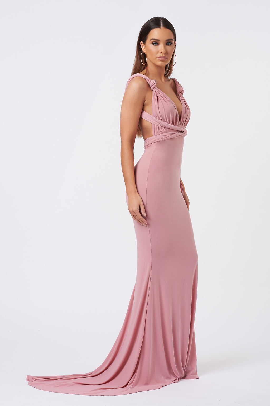 Pink Multiway Fishtail Maxi Dress