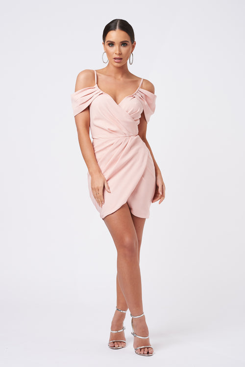 240dd40a1ec6e Peach Bardot Wrap Mini Dress