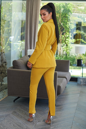 Mustard Belted Front Tailored Blazer - Club L London