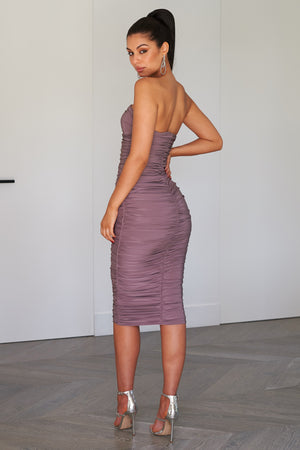 Mink Bandeau Ruched Bodycon Midi Dress